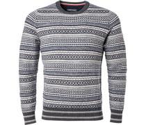 Pullover, Wolle, -grau gemustert