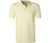Polo-Shirt, Body Fit, Leinen, anis