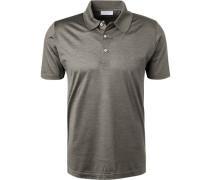 Polo-Shirt, Seiden-Jersey, greige- meliert