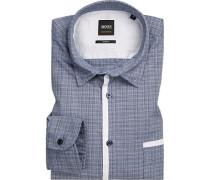 Hemd, Slim Fit, Baumwolle, dunkel-weiß meliert