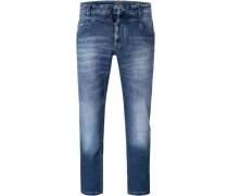Jeans, Tapered Fit, Baumwoll-Stretch, mittel