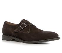Schuhe Monkstraps, Veloursleder, dunkel