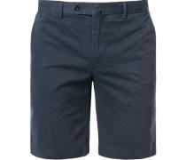 Hose Shorts, Baumwolle, marine gemustert