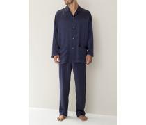 Schlafanzug Pyjama, Seide, navy gepunktet