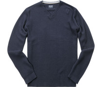 Pullover, Modern Fit, Baumwolle-Wolle, marine