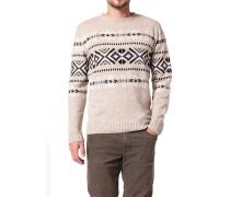 Pullover, Wolle-Leinen,  gemustert