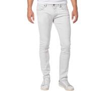 Jeans, Slim Fit, Baumwoll-Stretch, silber