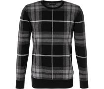 Pullover, Baumwolle, graphit-schwarz kariert