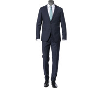 Anzug, Slim Fit, Wolle, dunkel meliert