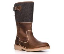 Schuhe Stiefel, Leder-Textil warmgefüttert, -grau