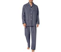 Schlafanzug Pyjama, Baumwolle, marine kariert