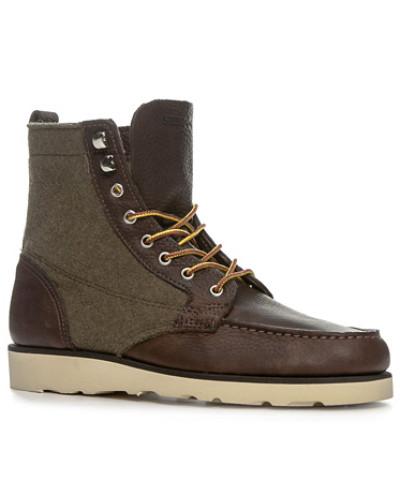 Sebago Herren Schuhe Schnürstiefeletten, Leder-Textil, schoko