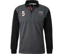 Polo-Shirt, Baumwoll-Jersey, -schwarz