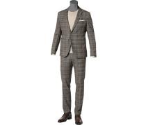 Anzug, Slim Fit, Baumwoll-Stretch,  kariert