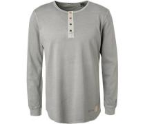 T-Shirt Longsleeve, Baumwolle, grün meliert