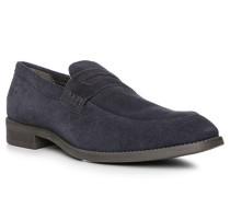 Schuhe Slipper, Veloursleder, navy