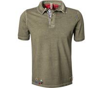 Polo-Shirt, Baumwoll-Piqué, khaki meliert