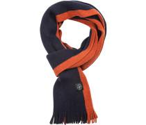 Schal, Wolle, navy-orange gestreift