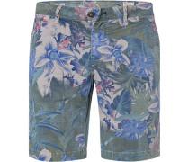 Hose Bermudashorts, Baumwolle, -blau gemustert