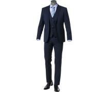 Anzug mit Weste, Regular Fit, Schurwolle, marine