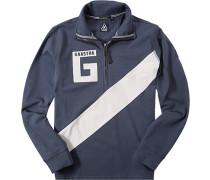 Polo-Shirt Zip-Polo, Baumwoll-Jersey, navy