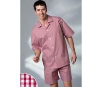 Schlafanzug Pyjama, Baumwolle, -weiß kariert