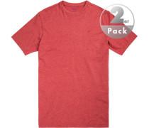 T-Shirt, Regular Fit, Baumwolle, rubin meliert