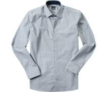 Hemd, Slim Fit, Popeline, dunkel-weiß gemustert
