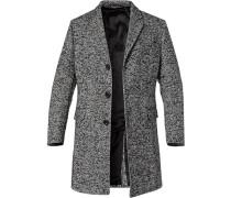 Mantel, Wolle, -weiß gemustert