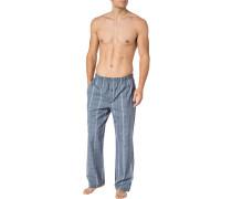 Pyjamahose, Baumwolle, blau-anthrazit kariert