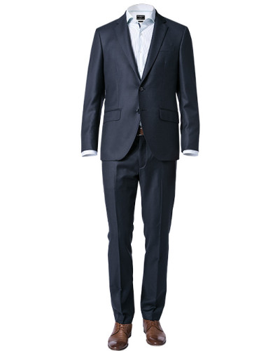 Anzug, Slim Fit, Wolle, navy meliert