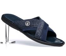 Schuhe Pantoletten, Veloursleder,  geprägt