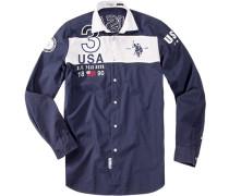 Hemd, Regular Fit, Baumwolle, marine