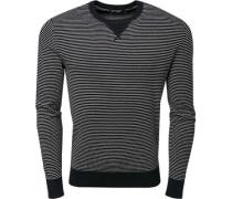 Pullover, Baumwolle, navy-weiß gestreift