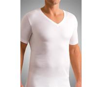 T-Shirt, Slim Fit, Mako-Baumwolle, weiß