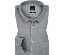 Hemd, Slim Fit, Baumwolle, -weiß meliert