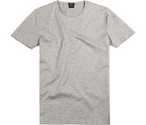 T-Shirt, Slim Fit, Baumwolle, hell meliert