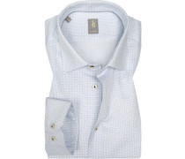 Hemd, Custom Fit, Popeline, weiß- gemustert