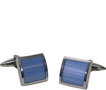 Schmuck Manschettenknöpfe, Metall, blau-silber
