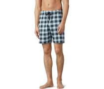Schlafanzug Pyjamashorts, Baumwolle, -weiß kariert