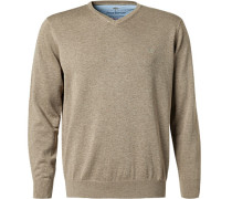 Pullover, Baumwolle, taupe meliert