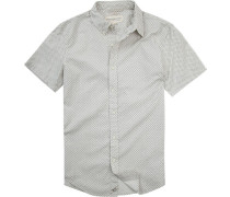 Hemd, Slim Fit, Popeline, creme-schwarz gemustert