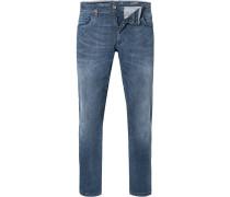 Jeans, Modern Fit, Baumwoll-Stretch, rauch