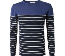 Pullover, Baumwolle, dunkel-weiß gestreift