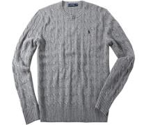 Herren Pullover Seide grau meliert