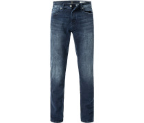 Jeans, Tapered Fit, Baumwoll-Stretch, dunkel