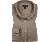 Hemd, Tailored Fit, Jersey, taupe