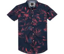 Hemd, Modern Fit, Popeline, navy-rot gemustert