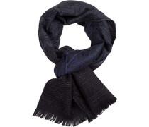Schal, Wolle, -dunkelblau gemustert
