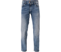 Jeans, Straight Fit, Baumwoll-Stretch, hell